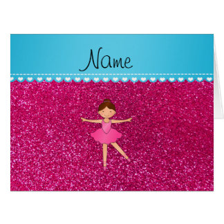 Personalized name ballerina neon hot pink glitter large greeting card