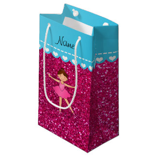 Personalized name ballerina neon hot pink glitter small gift bag