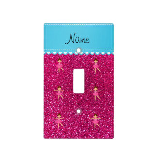 Personalized name ballerina neon hot pink glitter light switch covers