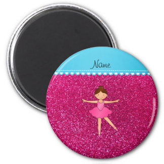 Personalized name ballerina neon hot pink glitter 2 inch round magnet