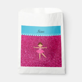 Personalized name ballerina neon hot pink glitter favor bags