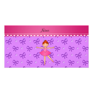 Personalized name ballerina pastel purple bows photo card