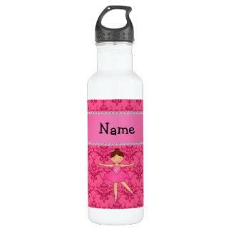 Personalized name ballerina pink damask water bottle