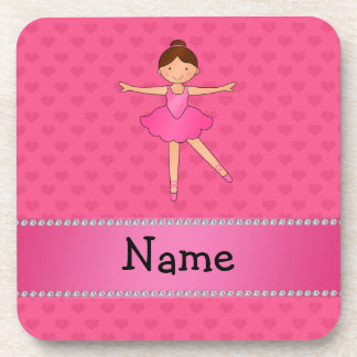 Personalized name ballerina pink hearts drink coaster