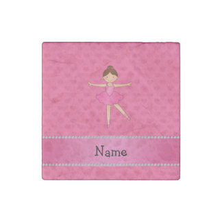 Personalized name ballerina pink hearts stone magnet