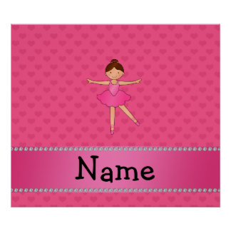 Personalized name ballerina pink hearts posters