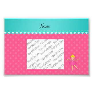 Personalized name ballerina pink polka dots photographic print