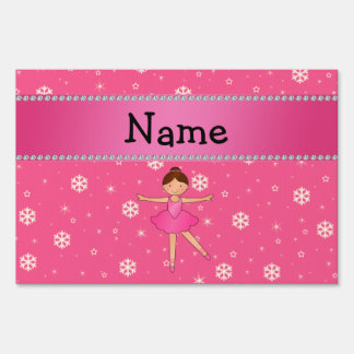 Personalized name ballerina pink snowflakes lawn sign