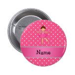 Personalized name ballerina pink white polka dots pinback button