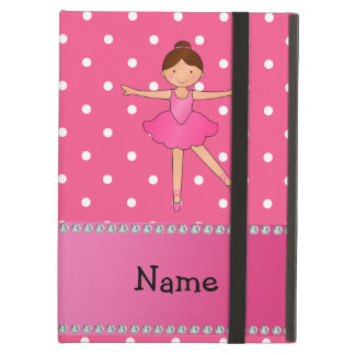 Personalized name ballerina pink white polka dots iPad air cases