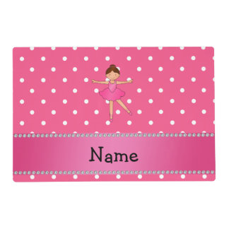 Personalized name ballerina pink white polka dots laminated place mat