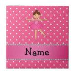 Personalized name ballerina pink white polka dots ceramic tile