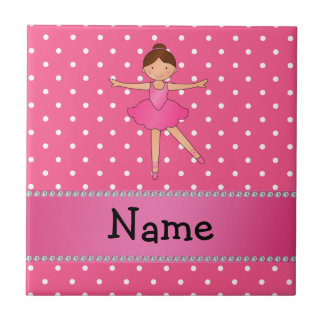 Personalized name ballerina pink white polka dots small square tile