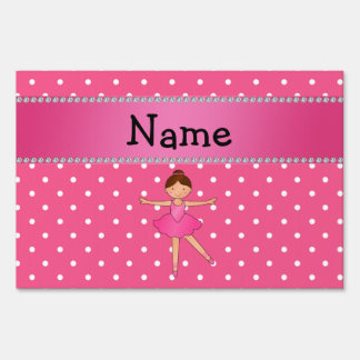 Personalized name ballerina pink white polka dots signs