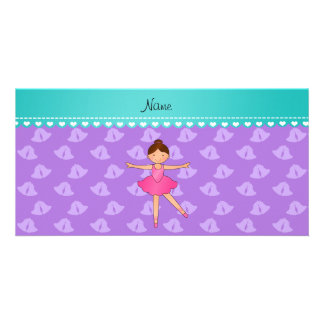 Personalized name ballerina purple bells photo card