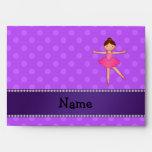 Personalized name ballerina purple polka dots envelopes