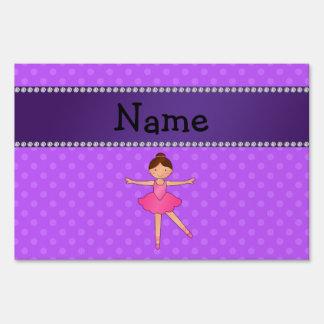 Personalized name ballerina purple polka dots yard signs