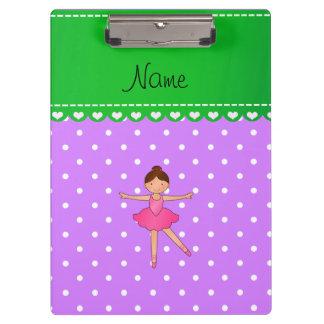 Personalized name ballerina purple white polka dot clipboard