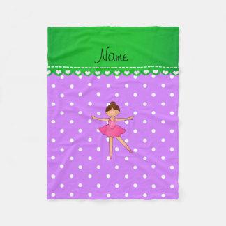 Personalized name ballerina purple white polka dot fleece blanket