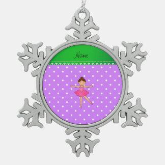 Personalized name ballerina purple white polka dot ornament