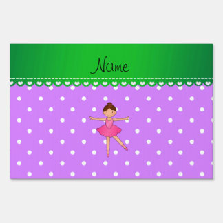 Personalized name ballerina purple white polka dot yard signs