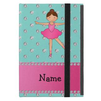 Personalized name ballerina seafoam green diamonds cover for iPad mini