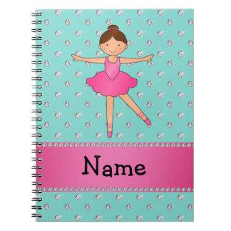 Personalized name ballerina seafoam green diamonds notebook