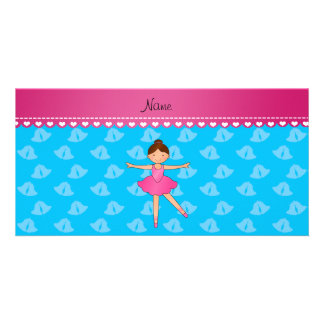 Personalized name ballerina sky blue bells photo card