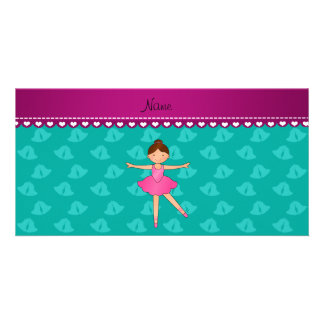 Personalized name ballerina turquoise bells photo card