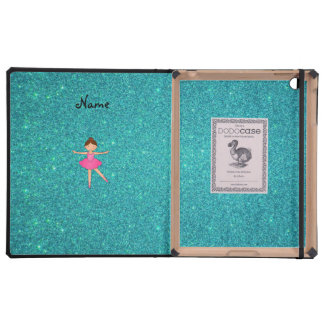 Personalized name ballerina turquoise glitter cases for iPad