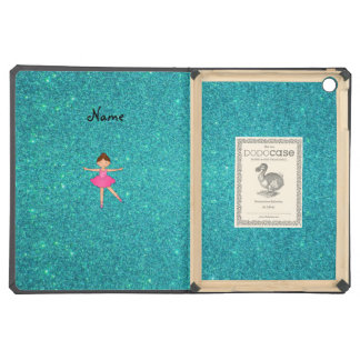 Personalized name ballerina turquoise glitter iPad air covers