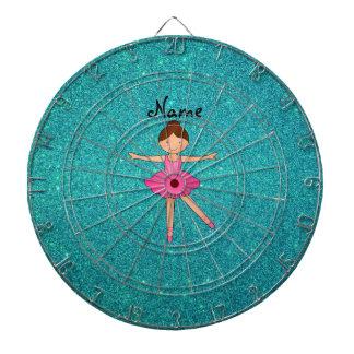 Personalized name ballerina turquoise glitter dartboard