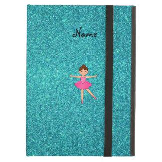 Personalized name ballerina turquoise glitter iPad case