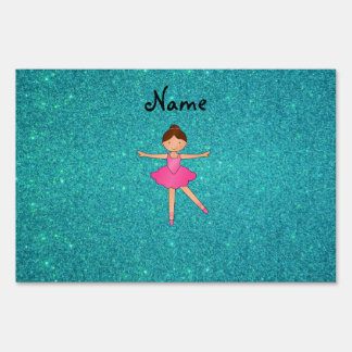 Personalized name ballerina turquoise glitter lawn signs