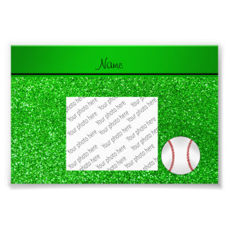 Personalized name baseball lime green glitter photograph