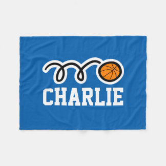 Personalized name basketball fleece blankets