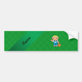 Personalized name basketball player green criss car bumper sticker