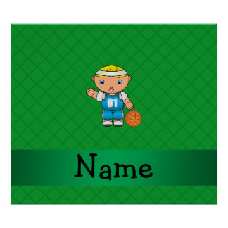 Personalized name basketball player green criss poster