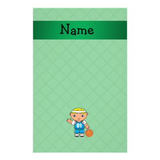 Personalized name basketball player green criss stationery design