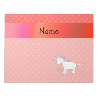 Personalized name basketball unicorn orange polka note pad