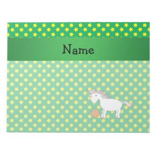 Personalized name basketball unicorn stars memo notepad