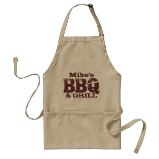 Personalized Name Bbq Apron For Guys | Brown Beige at Zazzle