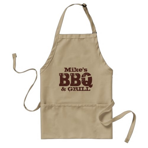 Personalized name BBQ apron for guys  Brown beige