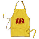 Personalized name BBQ apron for men   Red yellow
