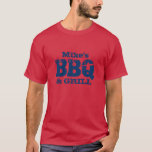 Personalized name BBQ t shirt for cool guys
