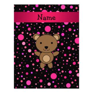 Personalized name bear black pink polka dots custom letterhead