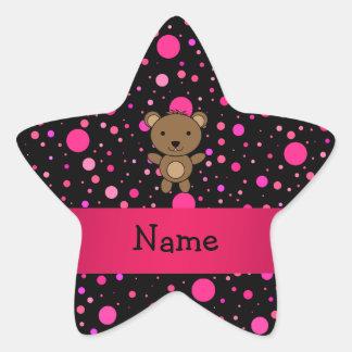 Personalized name bear black pink polka dots star sticker