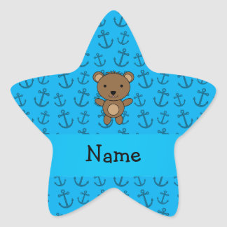 Personalized name bear blue anchors pattern star sticker