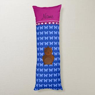 Personalized name bear blue butterflies body pillow