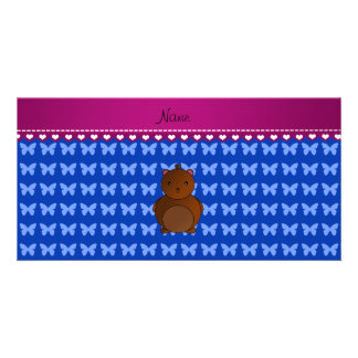 Personalized name bear blue butterflies photo card